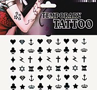 1Pc Heart Spade Club Diamond Cross Tattoo Stickers Temporary Tattoos