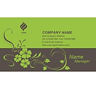 Personalized Business Cards 200 PCS Classic Gray And Green Flower Pattern 2 Sided Printing of Fine Art Filmed Paper