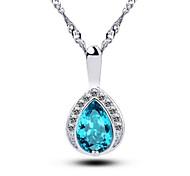 Women's Crystal Pendant Necklace Tear Drop Handmade Pendant Necklace