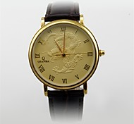 Men's Dress Watch Japanese Quartz Analog 3ATM Water Resistant Genuine Leather Dragon Pattern Gold/Silver