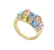 Gold-Tone Cheap Colorful Gemstone Wholesale Class Ringg