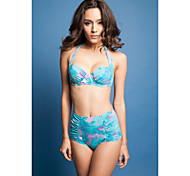 Fashion Blue Floral Halter Top High Waist Bikini Set
