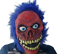 Red Face Evil with Blue Hair Latex Mask for Halloween