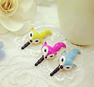 Cute Fox Anti-dust Earphone Jack for iPhone/iPad and Others(Random Color)