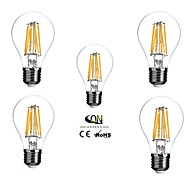 6W E26/E27 LED Filament Bulbs A60(A19) 6 COB 600 lm Warm White Dimmable AC 100-240 V 5 pcs