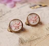 Hand Painted Lotus Clip Earrings