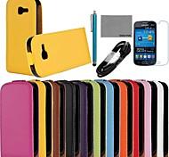 Coco fun® estojo de couro genuíno da aleta com filme e cabo USB e caneta para Samsung Lite tendência s7390 (cores sortidas)