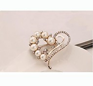 European Style Fashion Rhinestone Pearl Heart Brooch