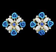 2015 Costume Rhinestone And Flower Square Stud Jewelry Earrings