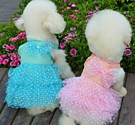 Red/Blue/Pink/Yellow Cotton Chiffon Princess Skirt Dresses For Dogs
