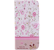 Colorful Flowers Set Auger Design PU Leather Case with Card Slot and Stand for iPhone 6