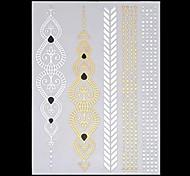 6PCS New Temporary Tattoos Metallic Gold Tattoos Flash Tattoos Rose Indian Totem Wedding Party Tattoos