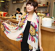 Lady White Sunflower Flower Scarf