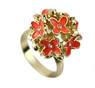 Wholesale Orange Enamel Cluster Women Flower Ring