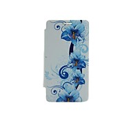 Blue Morning Glory Pattern Remove Rear Lid PU Case with Stand for Samsung Galaxy S2 I9100