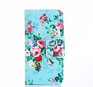 blühenden Blumen auf blauem Muster PU-Leder Ganzkörper-Fall mit Kartensteckplätze und Standplatzfall für Samsung-Galaxie s5 Mini