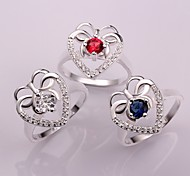 Plated Silver Fashion Heart Ring (More Colors)