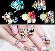 Pink Lovely/Wedding Finger/Toe Nail Jewelry/Glitter Metal 5PCS 4*3*1