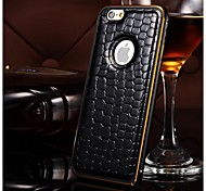Crocodile Texture Metal Bumper Stripe Edge Genuine Leather Back Case For iPhone 6 (assorted color)