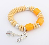 Women's Cute Bright Color Crystal Beads Stretchy Wrist Chain Bracelets