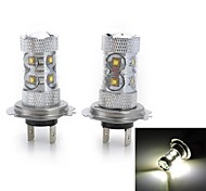 High Power H7/H3/H1/H4/H11 50W 3000LM Cool White Light 10-Cree LED Car Fog/Head Light(12V/2pcs)