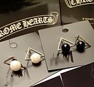 Fashion Single Pearl Multicolor Acrylic Alloy Stud Earring(1 Pair)(Black,White)