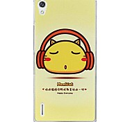 Fashion Cartoon Painted Cat PC Back Cover for Huawei P7
