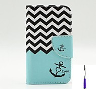 The Sea Waves Pattern PU Leather Case Cover with A Touch Pen ,Stand and Card Holder for iPhone 4/4S