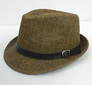 Unisexe - Chapeau borsalino - en Simili Cuir/Paille - Vintage/Soirée/Travail/Tous les jours