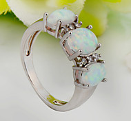High Quality Fashion Opal White Three Drill Zircon Ring