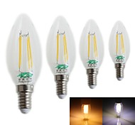 Zweihnder E14 4W 380LM 3000/6500K LED Tungsten Filament Core Cool White Warm White Candle Light (AC 220-240V,4Pcs)