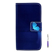 Deep Blue Butterfly Pattern PU Leather Case with A Touch Pen ,Stand and Card Holder for iPhone 5C