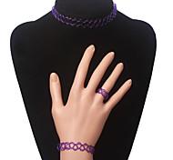 Eruner®Elastic Tattoo Choker Necklace Set(Purple)