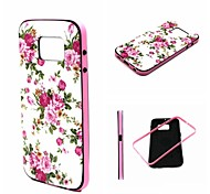 2-in-1 Pink Rose Peony Pattern TPU Back Cover with PC Bumper Shockproof Soft Case for Samsung Galaxy S6