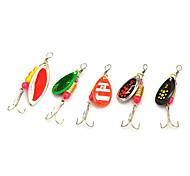 5pcs cores aleatórias pesca waterdrop truta enfrentar colher ferramenta gancho colher isca isca de pesca de metal 5g de reflexão da luz