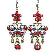 Chic (Flower) Bronze Any Zinc Alloy Earrings (Green Red)(1 Pair)