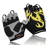 WEST BIKING® Cycling Half Finger Breathable Spring and Summer Polyester Yellow Scorpion Bike Gloves