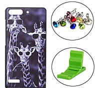 Giraffe Pattern PC Hard Case with Anti-dust Plug and Stand for Huawei G6