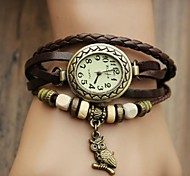 Women's Watch Bohemian Owl Pendant Leather Band Bracelet (Assorted Colors)