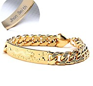 Personalized Jewelry Glam Copper Gold Plated Engraved Man's Bracelets