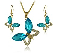 Europe And The America Butterfly Type Alloy Necklace And Earrings Jewelry Set