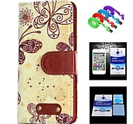 Butterfly Pattern Full Body Case+1 HD Screen Protector+1 USB Data Transmit and Charging Cable for iPhone 6