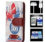 Band Pattern Full Body Case+1 HD Screen Protector+1 USB Data Transmit and Charging Cable for iPhone 4/4S