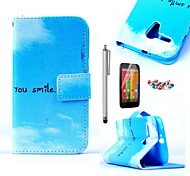 KARZEA™Blue Sky Cloud Pattern PU Leather Case with Screen Protector and Stylus and Dust Plug for Motorola moto G