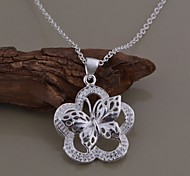 Silver Plated Butterfly Necklace Pendant Necklaces Wedding/Party/Daily/Casual/Sports 1pc