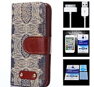 Decorative Design Pattern Full Body Case+1 HD Screen Protector+1 USB Data Transmit and Charging Cable for iPhone 4/4S
