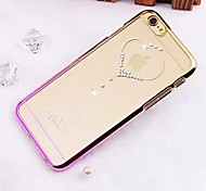 High Quality Vacuum Plating Laser Carving Rhinestone Series Love PC Hard Case for iPhone 6