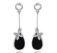 Fashion Diamante Flower and Water-Drop White and Black Platinum-Plated Drop Earrings(White and Black)(1Pair)
