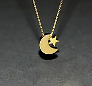 European Style Contracted Star And Crescent Alloy Necklace