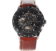 Men's Leather Band Self-Winding Mechanical Wrist Watch  (Brown)
